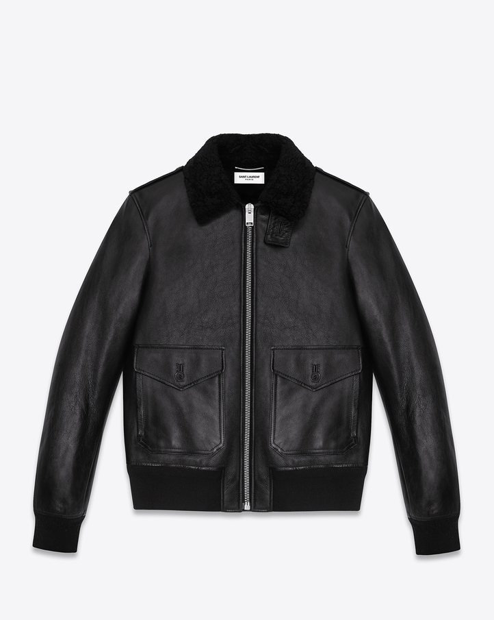 Saint Laurent Classic Flight Jacket In Black Leather | YSL.com
