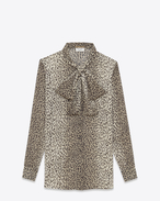 SAINT LAURENT Tops and Blouses D SIGNATURE LAVALLIÈRE BLOUSE IN BEIGE AND BLACK BABYCAT PRINTED SILK Georgette f