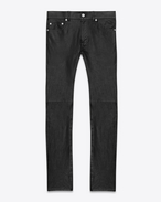 SAINT LAURENT Denim Trousers U ORIGINAL LOW WAISTED SKINNY JEAN IN BLACK LEATHER f