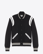 SAINT LAURENT Casual Jackets U TEDDY JACKET IN Black Virgin Wool and Off-White LEATHER f