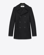 SAINT LAURENT Coats D DOUBLE BREASTED CABAN JACKET IN Black WOOL GABARDINE f