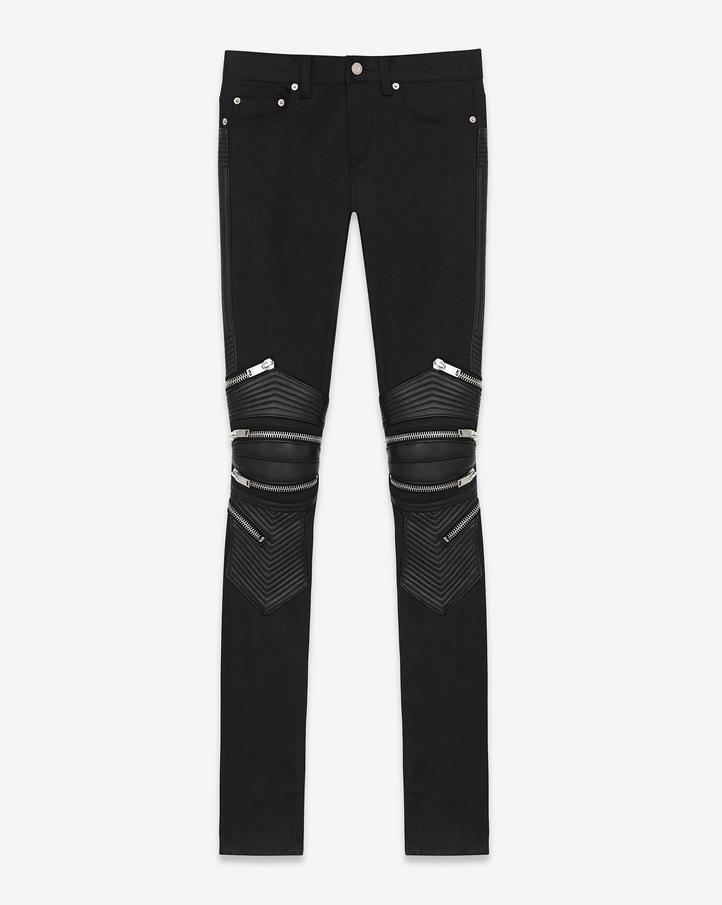 saint laurent jean motard skinny taille basse en denim stretch noir. Black Bedroom Furniture Sets. Home Design Ideas