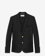 SAINT LAURENT Blazer Jacket D CLASSIC SINGLE-BREASTED JACKET IN Black WOOL GABARDINE f