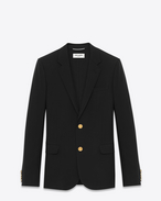 SAINT LAURENT Blazer Jacket U CLASSIC CROPPED BLAZER IN Black virgin WOOL GABARDINE f