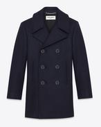 SAINT LAURENT Coats U Classic Caban Marin in Navy Blue Wool f