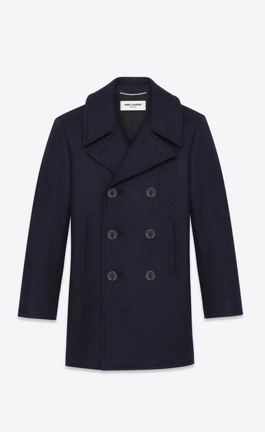SAINT LAURENT Coats U Classic Caban Marin in Navy Blue Wool a_V4