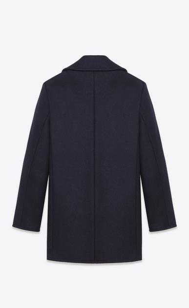 SAINT LAURENT Coats U Classic Caban Marin in Navy Blue Wool b_V4