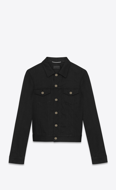 SAINT LAURENT Casual Jackets U ORIGINAL JEAN JACKET IN Raw Black STRETCH DENIM a_V4