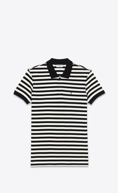 SAINT LAURENT ポロ U クラシック ポロシャツ(ブラック&アイボリー/ストライプピケコットン) a_V4