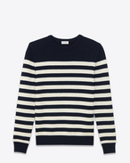 SAINT LAURENT Cashmere Tops U CLASSIC MARINIÈRE SWEATER IN Navy Blue AND ivory STRIPED CASHMERE f