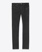 SAINT LAURENT Skinny fit U ORIGINAL LOW WAISTED SKINNY JEAN IN Black Waxed STRETCH DENIM f