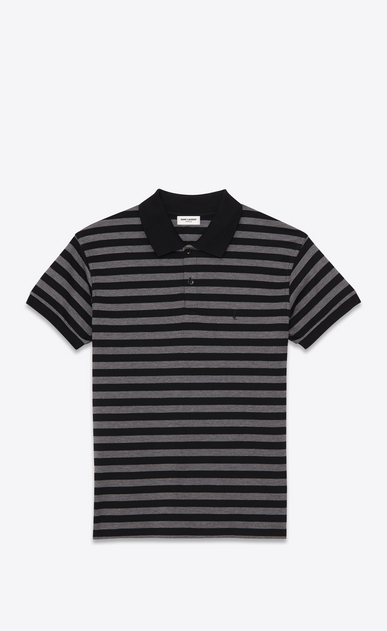 SAINT LAURENT ポロ U クラシック ポロシャツ(ブラック&ヘザーグレー/ストライプピケコットン) a_V4