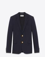 SAINT LAURENT Blazer Jacket U CLASSIC CROPPED BLAZER IN Blue WOOL GABARDINE f