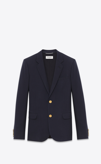 SAINT LAURENT Blazer Jacket Man CLASSIC CROPPED BLAZER IN Blue WOOL GABARDINE V4