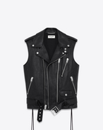 CLASSIC Sleeveless MOTORCYCLE Jacket IN Black LEATHER
