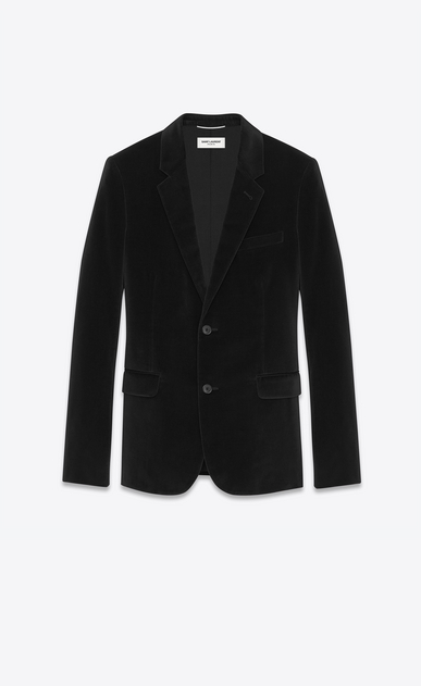 SAINT LAURENT Blazer Jacket U classic single-breasted jacket in black cotton and viscose velvet a_V4