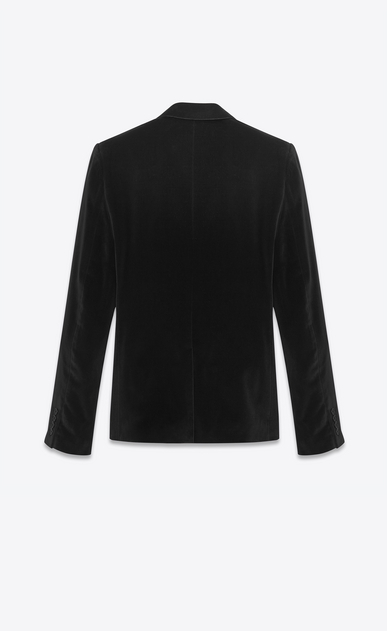 SAINT LAURENT Blazer Jacket U classic single-breasted jacket in black cotton and viscose velvet b_V4