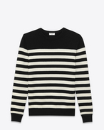 SAINT LAURENT Cashmere Tops U CLASSIC MARINIÈRE SWEATER IN Black AND ivory STRIPED CASHMERE f