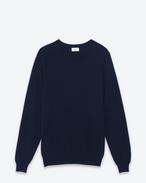 SAINT LAURENT Cashmere Tops U Classic Saint Laurent Crew NECK sweater IN Navy Blue CASHMERE f