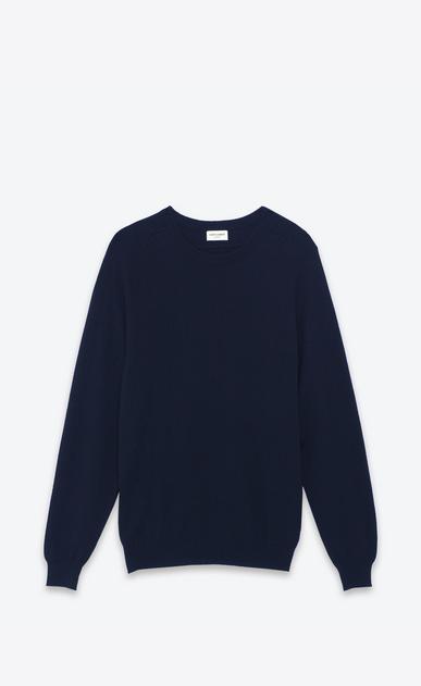SAINT LAURENT Cashmere Tops U Classic Saint Laurent Crew NECK sweater IN Navy Blue CASHMERE a_V4