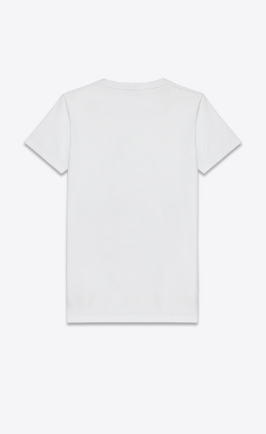 SAINT LAURENT T-Shirt and Jersey U T-Shirt in White Blood Luster Printed Cotton b_V4