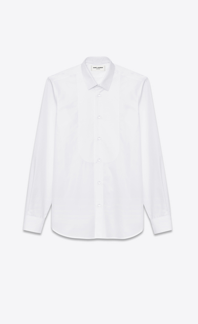 SAINT LAURENT Tuxedo Shirts U Pique plastron Yves Collar Shirt in White Cotton Poplin a_V4
