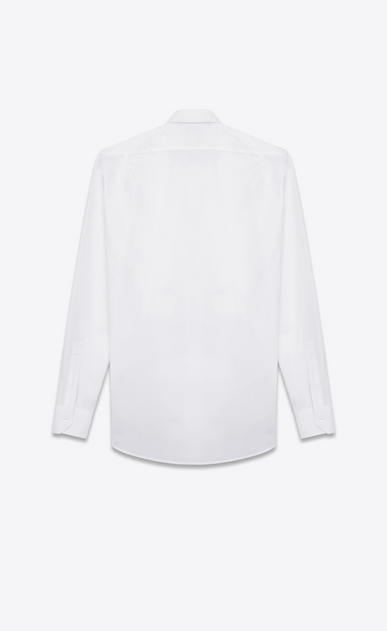 SAINT LAURENT Tuxedo Shirts U Pique plastron Yves Collar Shirt in White Cotton Poplin b_V4