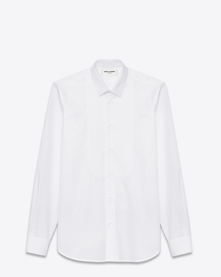 Saint Laurent Pique Plastron Yves Collar Shirt In White