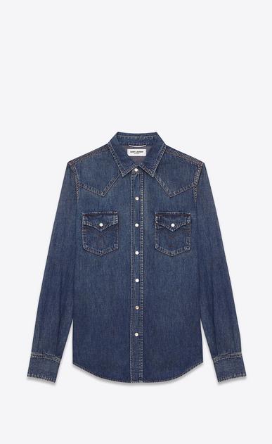 SAINT LAURENT Western Shirts U CLASSIC WESTERN SHIRT IN Vintage Blue Cotton a_V4
