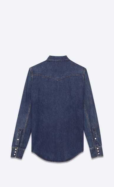 SAINT LAURENT Western Shirts U CLASSIC WESTERN SHIRT IN Vintage Blue Cotton b_V4