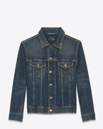 SAINT LAURENT Giacche Casual U GIACCA DI JEANS ORIGINAL blu scuro vintage sporco in DENIM f