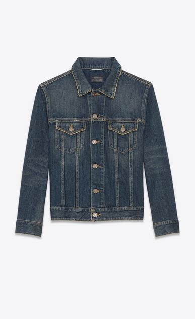 SAINT LAURENT Casual Jackets Man ORIGINAL JEAN JACKET IN Dark Dirty Vintage Blue DENIM a_V4
