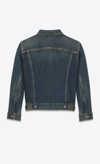 SAINT LAURENT Casual Jackets Man ORIGINAL JEAN JACKET IN Dark Dirty Vintage Blue DENIM b_V4