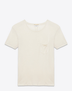 SAINT LAURENT T-Shirt and Jersey U CLASSIC SHORT SLEEVE POCKET T SHIRT IN Ivory Washed Silk Jersey f