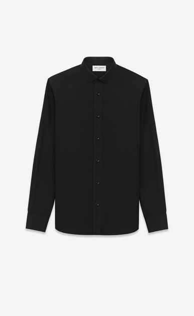SAINT LAURENT Classic Shirts U Signature Dylan COLLAR SHIRT in Black COTTON POPLIN a_V4