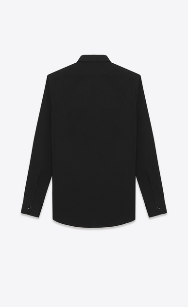 SAINT LAURENT Classic Shirts U Signature Dylan COLLAR SHIRT in Black COTTON POPLIN b_V4