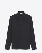 Signature Yves Collar Shirt in Black and White Micro Polka Dot Printed Viscose