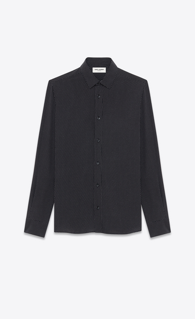 SAINT LAURENT Casual Shirts Man signature yves collar shirt in black and white micro polka dot printed silk a_V4