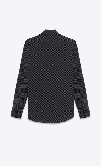 SAINT LAURENT Casual Shirts Man signature yves collar shirt in black and white micro polka dot printed silk b_V4