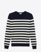 SAINT LAURENT Top in Cachemire U FELPA Classic MARINIÈRE nera e avorio A RIGHE IN CASHMERE f