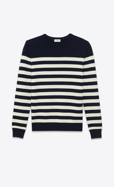 SAINT LAURENT Cashmere Tops U CLASSIC MARINIÈRE SWEATER IN Black AND ivory STRIPED CASHMERE a_V4