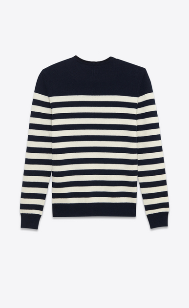 SAINT LAURENT Cashmere Tops U CLASSIC MARINIÈRE SWEATER IN Black AND ivory STRIPED CASHMERE b_V4