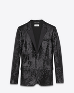 SAINT LAURENT Tuxedo Jacket U Classic Single Breasted Jacket in Black Sequins and Satin f