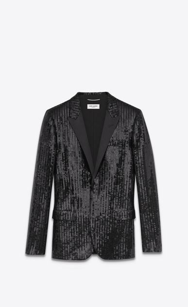 SAINT LAURENT Tuxedo Jacket U Classic Single Breasted Jacket in Black Sequins and Satin a_V4