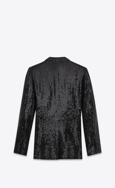 SAINT LAURENT Tuxedo Jacket U Classic Single Breasted Jacket in Black Sequins and Satin b_V4