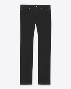SAINT LAURENT Slim fit U Jean slim à taille basse en denim stretch noir f
