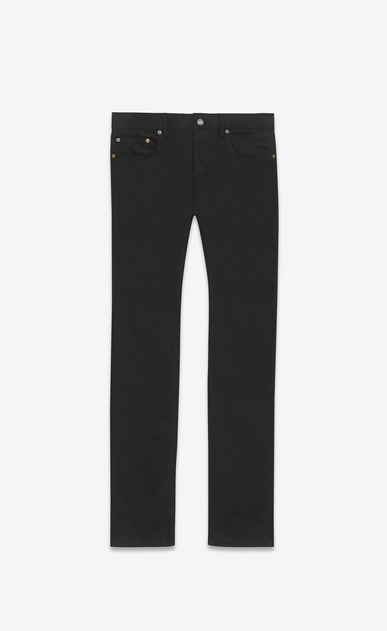 SAINT LAURENT Slim fit U Jean slim à taille basse en denim stretch noir a_V4