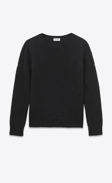 SAINT LAURENT Knitwear Tops U Grunge Crewneck Sweater in Black Shetland Wool and Cashmere a_V4