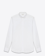 SAINT LAURENT Classic Shirts U Signature Dylan COLLAR SHIRT in White COTTON POPLIN f