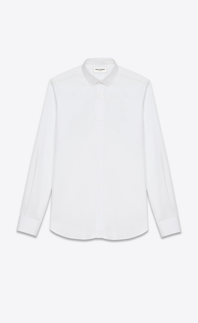 SAINT LAURENT Classic Shirts U Signature Dylan COLLAR SHIRT in White COTTON POPLIN a_V4